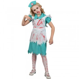 Girls Zombie Nurse Halloween Outfit - (Green, White)