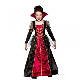 Girls Princess Vampira Halloween Outfit - (Red, Black)