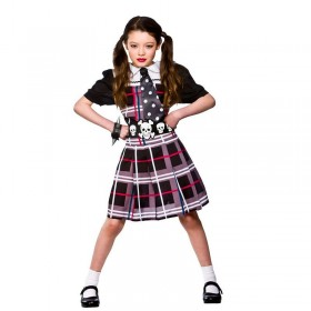 Girls Freaky Schoolgirl Halloween Outfit - (Purple, Black)