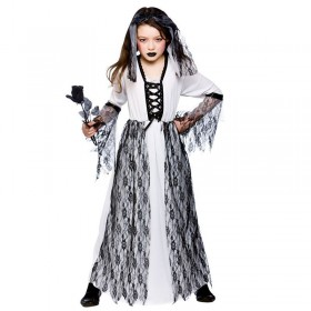 Girls Ghastly Ghost Bride Halloween Outfit - (Black, White)