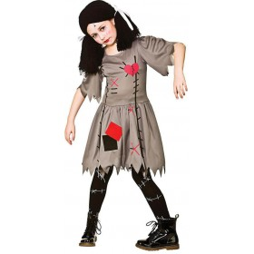 Girls VooDoo Doll Halloween Fancy Dress Costume