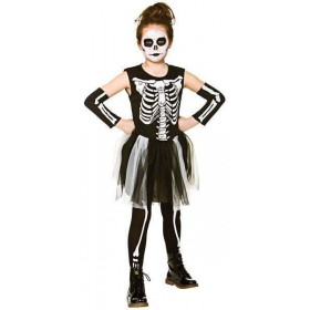 Girls Skelebones Halloween Fancy Dress Costume