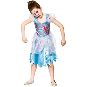 Girls Zombie Cinders Halloween Fancy Dress Costume