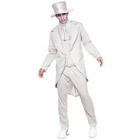 Mens Ghastly Ghost Groom Halloween Fancy Dress Costume