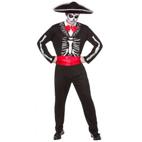 Mens Mariachi Day Of The Dead Halloween Fancy Dress Costume