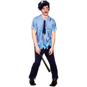 Mens Blue Zombie Cop Halloween Fancy Dress Costume
