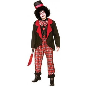 Mens Red/Black Deluxe Freaky Clown Halloween Halloween Costume
