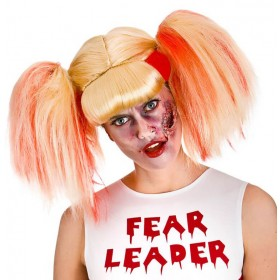 Ladies Zombie Cheerleader (Fear Leader) Wig Halloween Fancy Dress Accessory