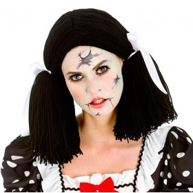 Ladies Broken Doll Wig Halloween Fancy Dress Accessory