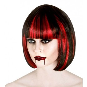 Ladies Black/Red Bloodlust Vampire Wig Halloween Fancy Dress Accessory