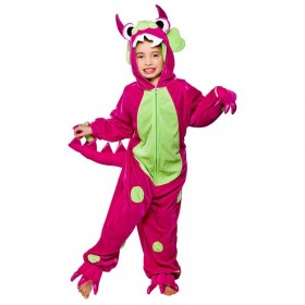 Childs Unisex Monster Hot Pink With Green Spots Animal - (Pink/Green)