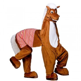 Adult Unisex Pantomime 2 Man Horse Animal Outfit - One Size (Brown)