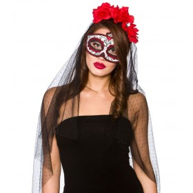 Ladies Day Of The Dead Deluxe Mask & Veil Halloween Fancy Dress Accessory