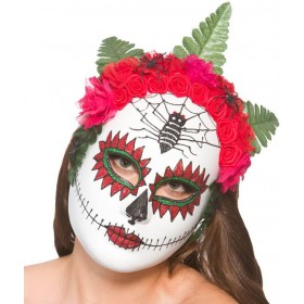Ladies Day Of The Dead Mask With Flowers Halloween Fancy Dress Accessory