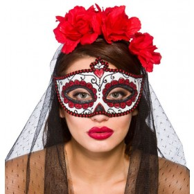 Ladies Day Of The Dead Eye Mask Halloween Fancy Dress Accessory
