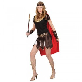 Ladies Red & Black Sexy Roman Centurian Girl Fancy Dress Costume