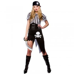 Ladies Shipwrecked Pirate Pirates Outfit - (Black, White)