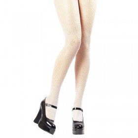 Fishnet Tights / White - Fancy Dress Ladies