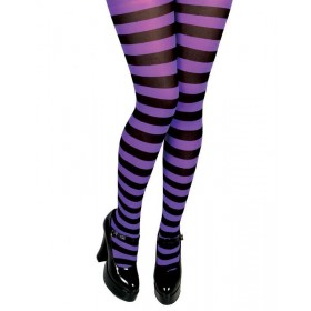 Striped Tights - Purple & Black Candystripe Fancy Dress