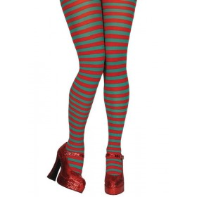 Tights - Red & Green Candy stripe Fancy Dress