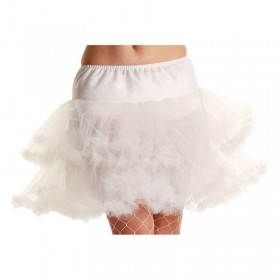 3 Layer Ruffle Petticoat-Wht - Fancy Dress Ladies