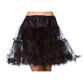 "Ladies 22"" Ruffle Petticoats - Black - (Black)"