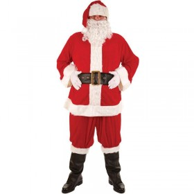 Mens Super Deluxe Santa Suit Christmas Outfit - Plus Size (Red,White)