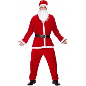 Mens Deluxe Velour 5Pc Santa Suit Christmas Fancy Dress Costume