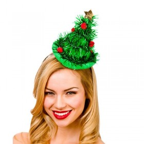 Festive Mini Tinsle Tree Hat On Headband