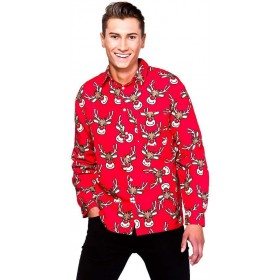 Mens Red Christmas Shirt With Reindeer Fancy Dress Item