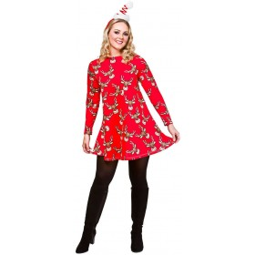 Ladies Red Christmas Dress With Reindeer Fancy Dress Outfit.