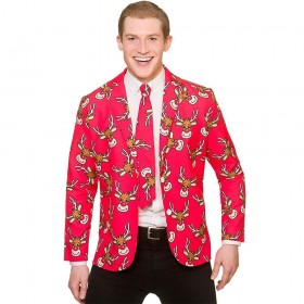 Christmas Jacket & Tie - Reindeer Fancy Dress Costume