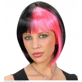 Zoey Wig - Black Streaked/Pink - Fancy Dress