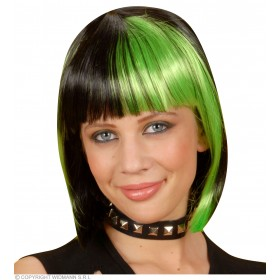 Zoey Wig - Black Streaked/Green - Fancy Dress