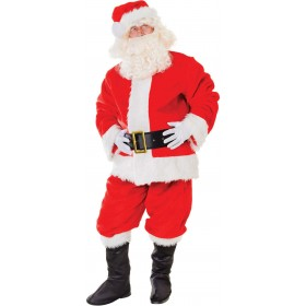 Santa Suit. Plush Deluxe Fancy Dress Costume