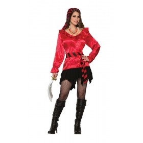 Pirate Lady Red Blouse Fancy Dress
