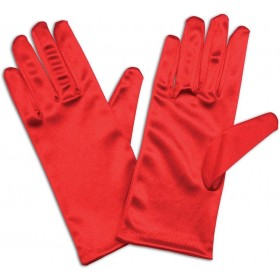 "Gloves. Satin 9"" Red Accessories"