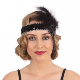 Flapper H'Band. Black Sequin Band Deluxe Accessories