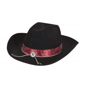 Cowboy Hat Black Felt w/Red Band Fancy Dress
