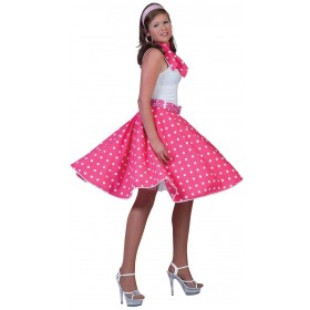 Ladies Pink 50'S Grease Style Rock 'N' Roll Skirt Fancy Dress Costume.