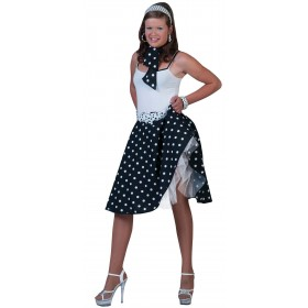 Ladies Black 50'S Grease Style Rock 'N' Roll Skirt Fancy Dress Costume.