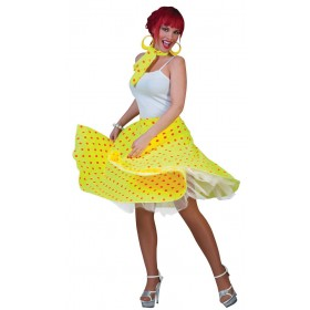 Ladies Yellow & Orange Dot 50'S Rock 'N' Roll Skirt Fancy Dress Costume.