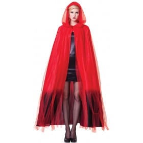 Ladies Red Hooded Cape With Black Ombre Finish Halloween Fancy Dress Costume.