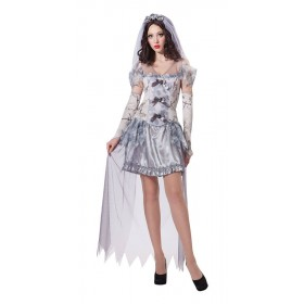 Ladies Grey Ghost Bride Halloween Fancy Dress Costume