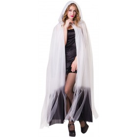 Ladies White Hooded Cape With Black Ombre Finish Halloween Fancy Dress Costume.