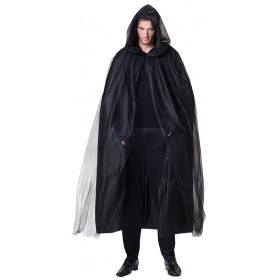 Adults Black hooded Wizard/Witch Cape Halloween Fancy Dress Costume
