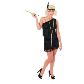 Ladies Flapper Dress. Black Diamond 1920'S Outfit - One Size (Black)