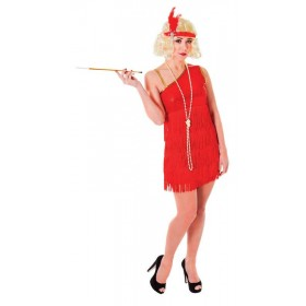 Ladies Flapper Dress. Ruby 1920'S Outfit - One Size (Red)