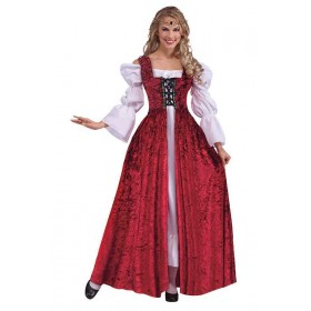 Ladies Medieval Lace Up Gown Medieval Outfit Excludes Chemise  - One Size (Red)