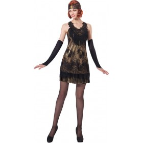 Ladies 1920'S Flapper Gold With Black Lace Fancy Dress Costume